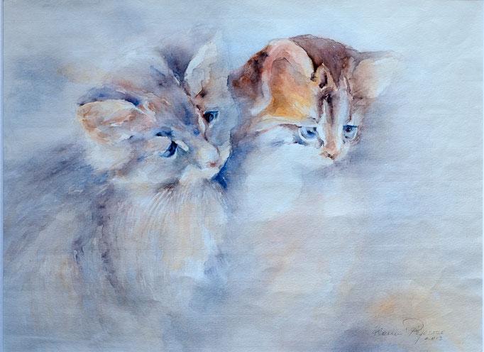 Freunde (Aquarell, 59 cm x 42 cm)