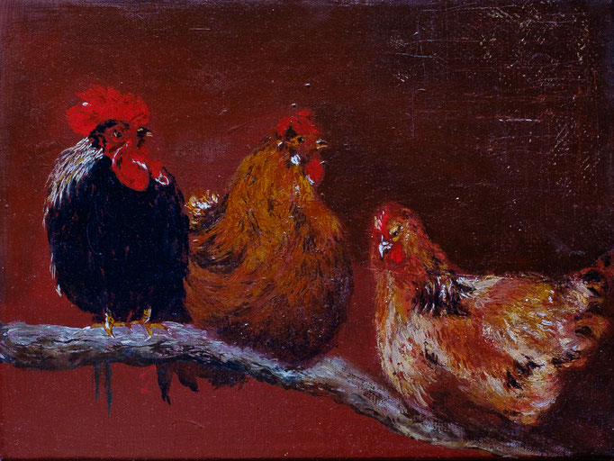 Hühner (Acryl, 51 cm x 41 cm, mit Rahmen)
