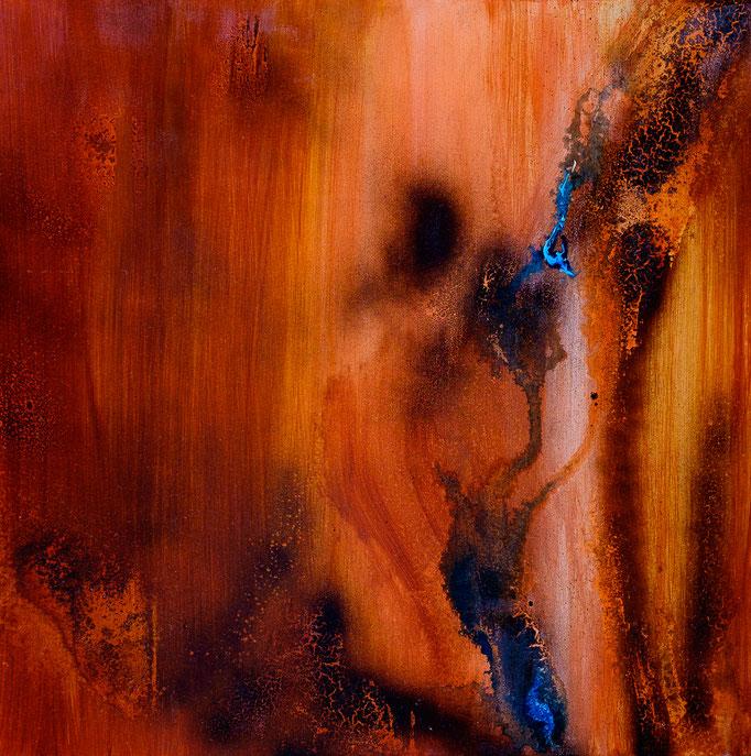 """""""Hinterm Strauch"""" (Acryl, 51 cm x 51 cm)"""