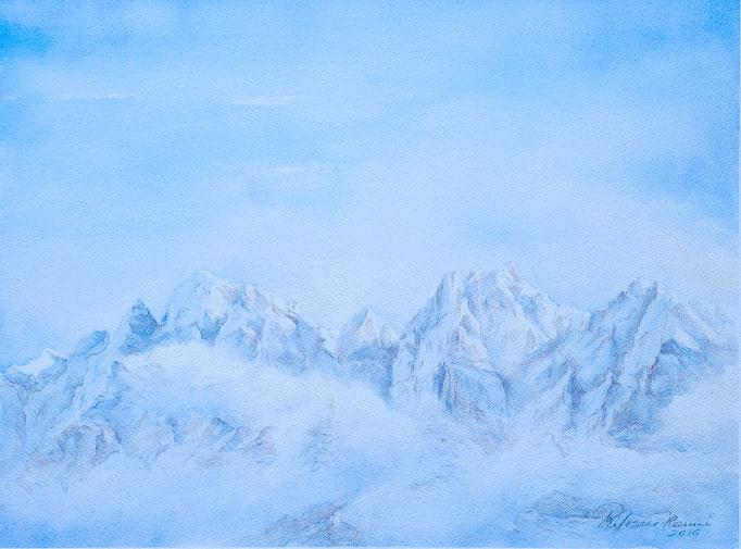 Geisler im Nebel (Aquarell, 40 cm x 30 cm)