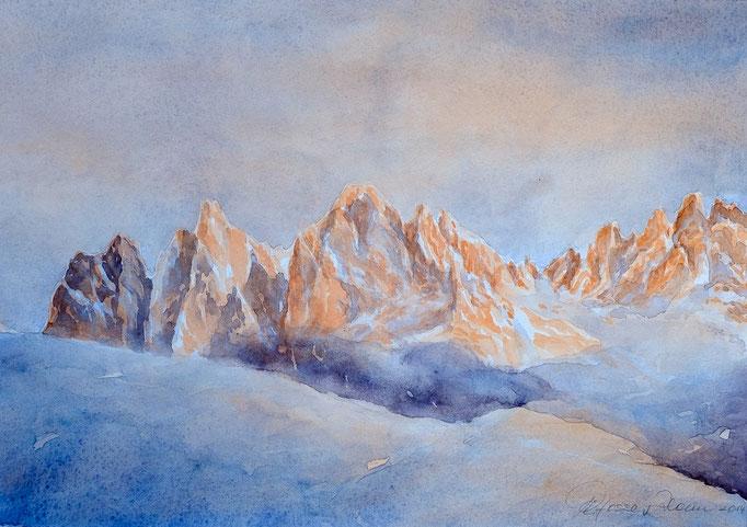 Geisler im Abendlicht (Aquarell, 36 cm x 26 cm)