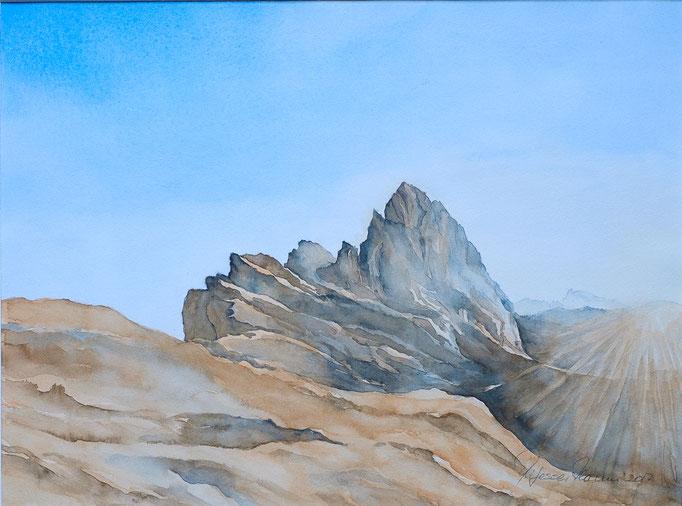 Sonnenaufgang Seceda (Aquarell, 40 cm x 30 cm)