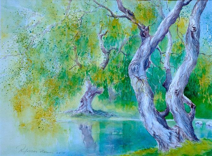 Tanz der Bäume (Aquarell, 41 cm x 31 cm)