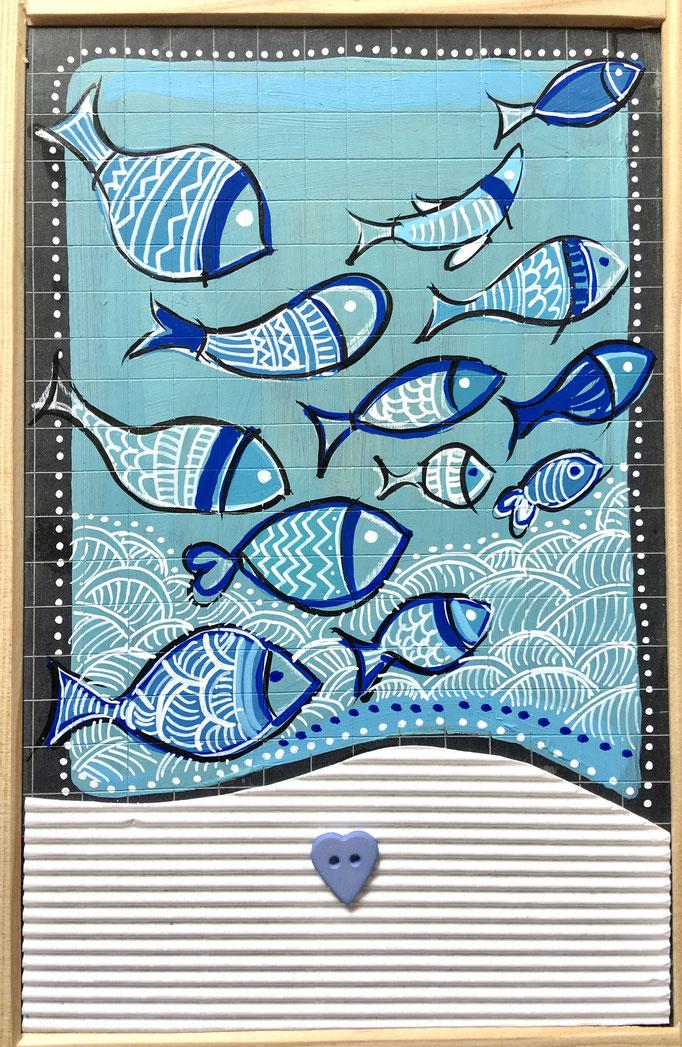 """""""POISSONS BLEUS"""" - Création sur ardoise / 18 cm x 26 cm / 70 €"""