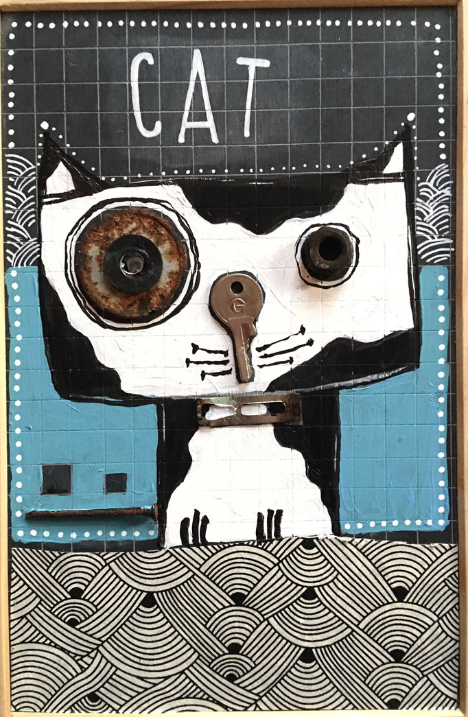 """""""CAT"""" - Création sur ardoise / 18 cm x 26 cm / 70 €"""