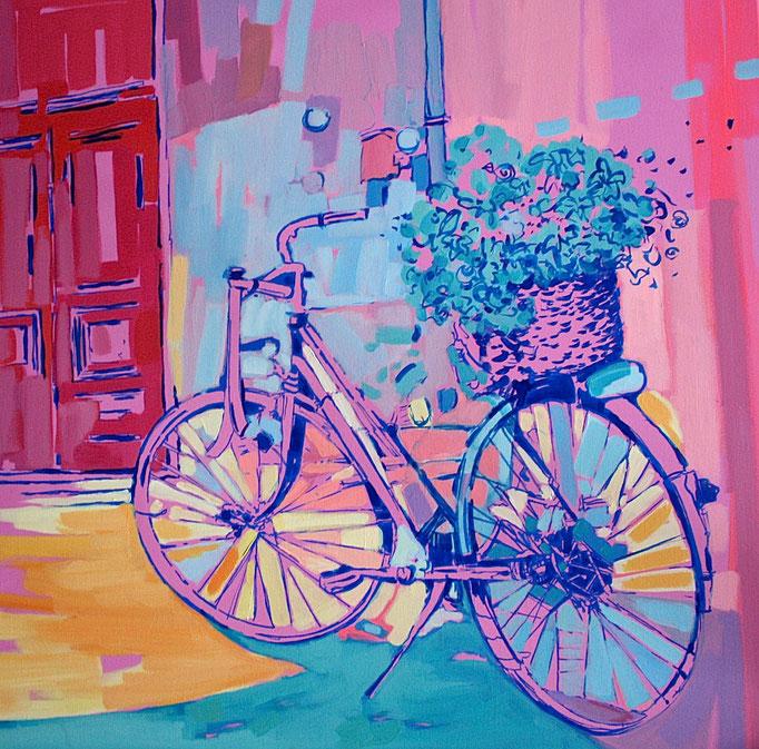 """""""LA BICI ROSA"""" - 70 cm x 70 cm / FOR SALE"""