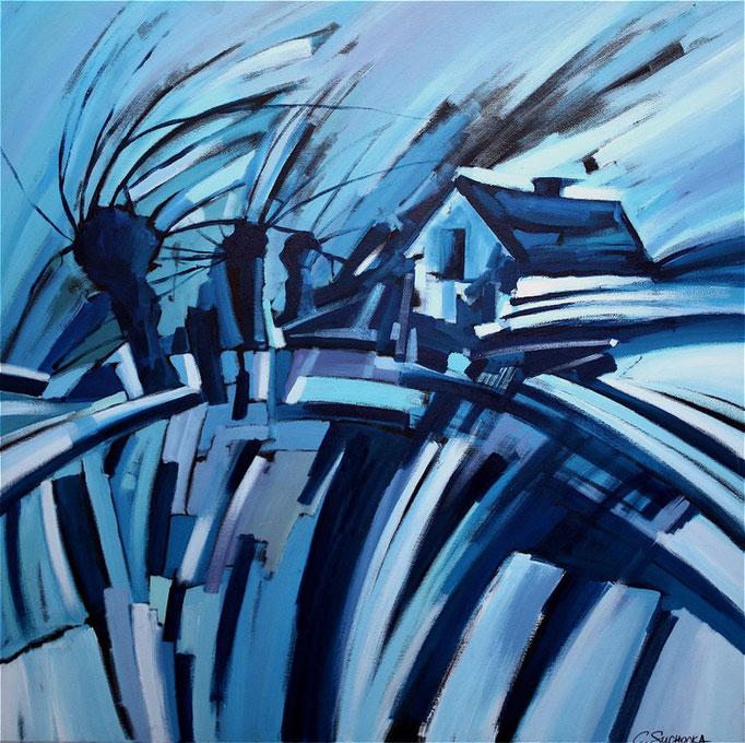 """""""LA MAISON BLEU"""" - 100 cm x 100 cm"""