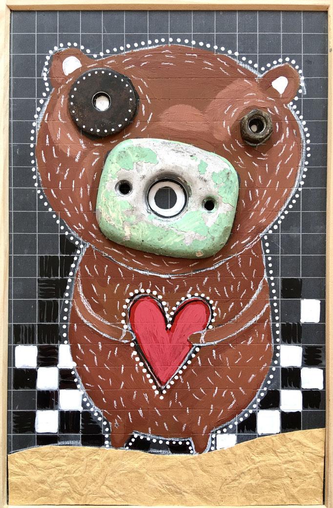 """""""BEAR"""" - Création sur ardoise / 18 cm x 26 cm / 70 €"""