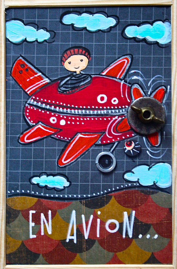 """EN AVION"" - 18 cm x 26 cm - SOLD"