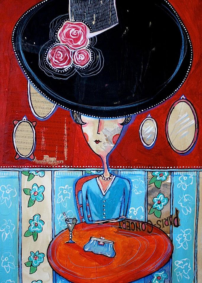 """""""FEMME AU CHAPEAU"""" - 50 cm x 70 cm"""