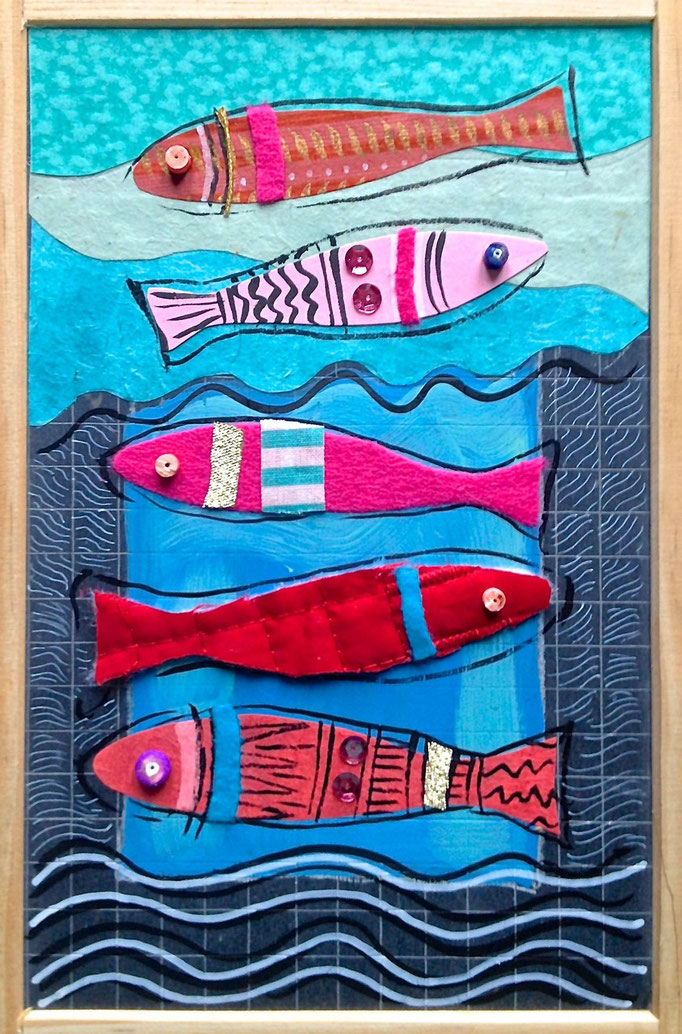 """POISSONS ROUGES"" - 18 cm x 26 cm - SOLD"