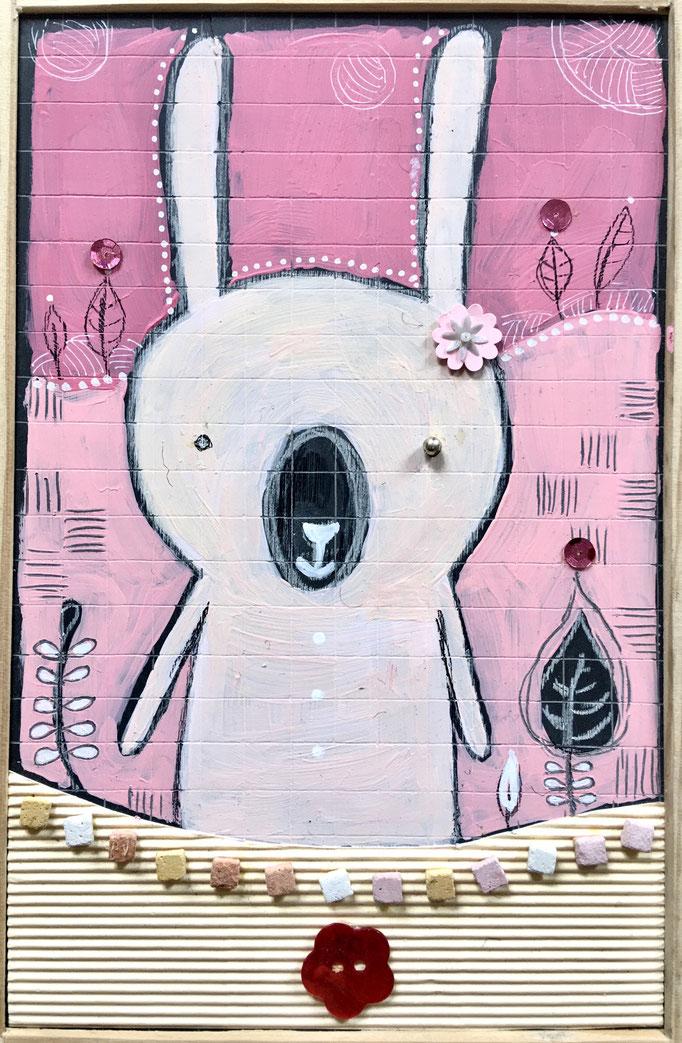 """""""LAPIN"""" - Création sur ardoise / 18 cm x 26 cm / 70 €"""