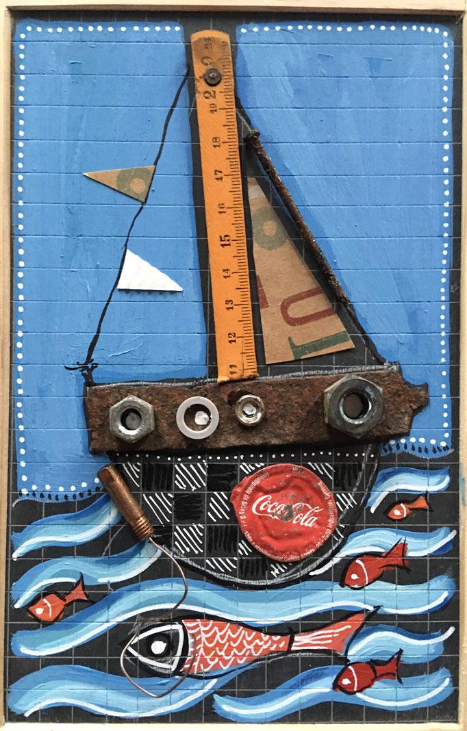 """""""BATEAUX ET LES POISSONS"""" - Création sur ardoise / 18 cm x 26 cm / 70 €"""