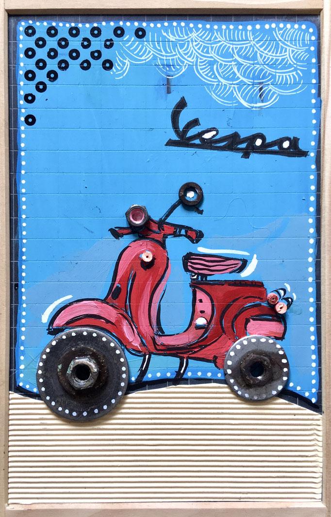 """""""VESPA"""" - Création sur ardoise / 18 cm x 26 cm / 70 €"""