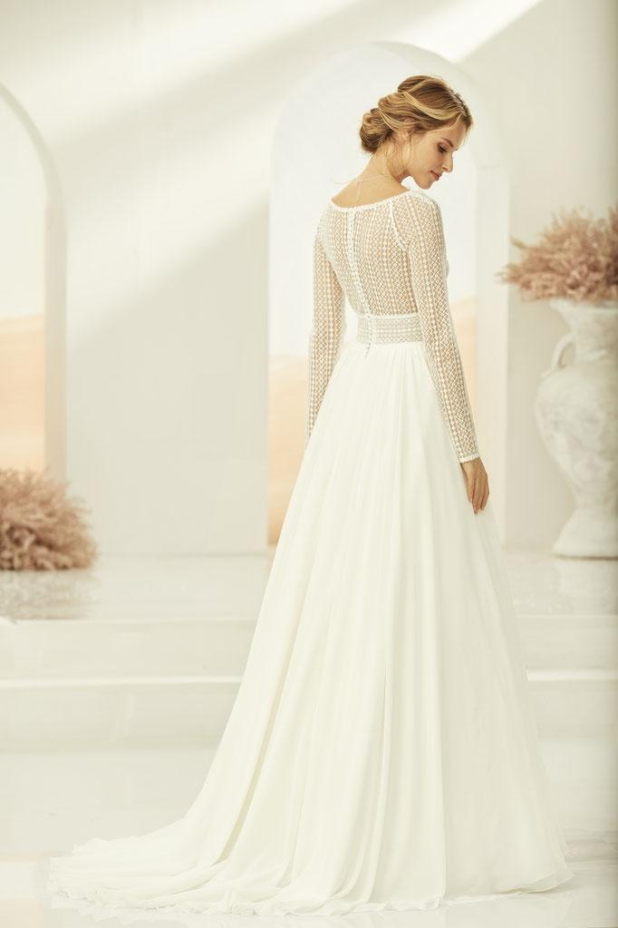 Brautkleid , lange Ärmel, Boho-Spitze, Chiffonrock, V-Ausschnitt