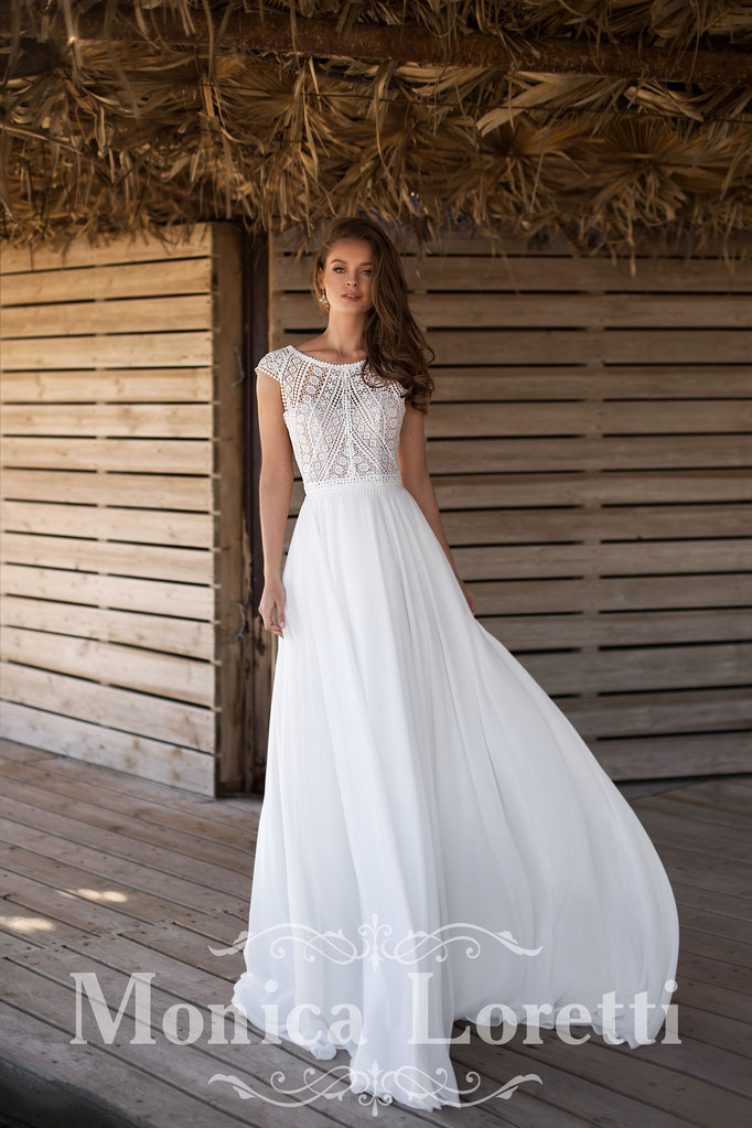 Brautkleid mit Häkeloptik Spitze, Chiffonrock,   Brautkleid  im  Boho Stil