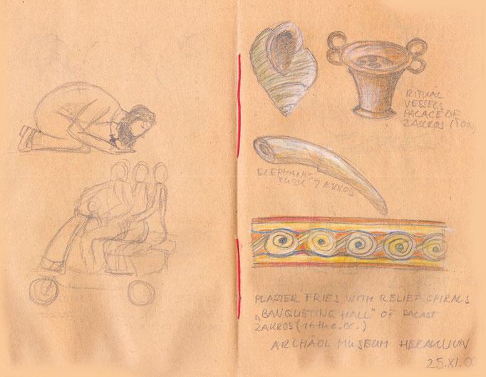 Impressionen aus dem Archäologischen Museum Kreta und von der Straße Rethymnon