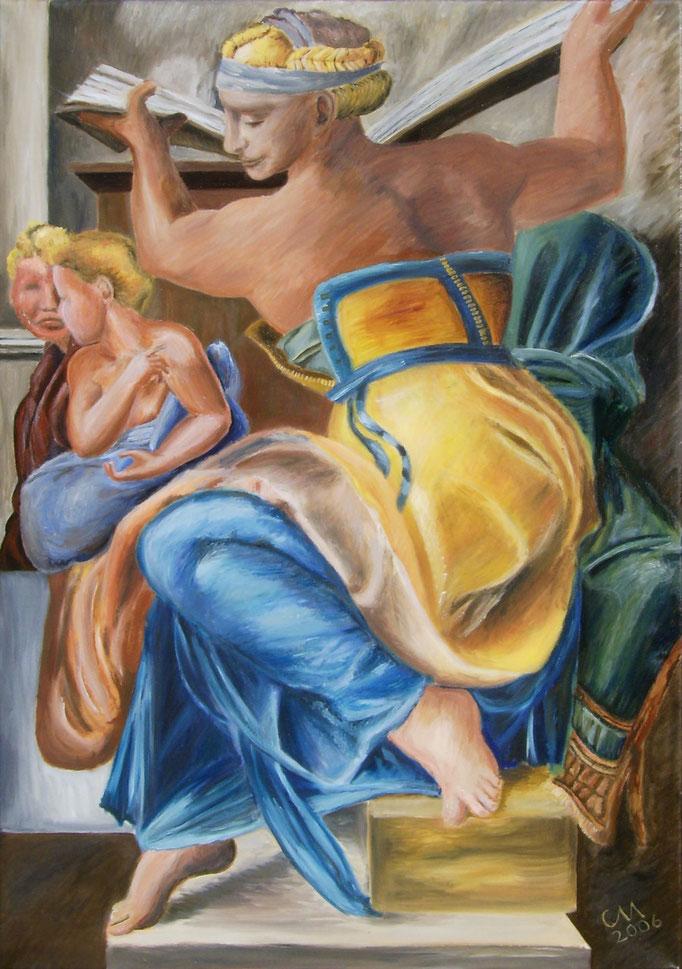 Kopie fertiger Zustand von mir (Ölmalerei auf Leinwand, Farben neu interpretiert)