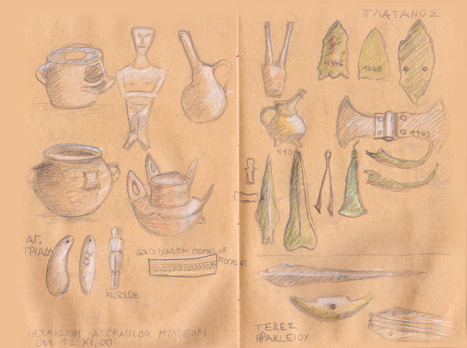 Ritualgegenstände und Waffen aus der griechischen Antike (Archäologisches Museum Kreta)