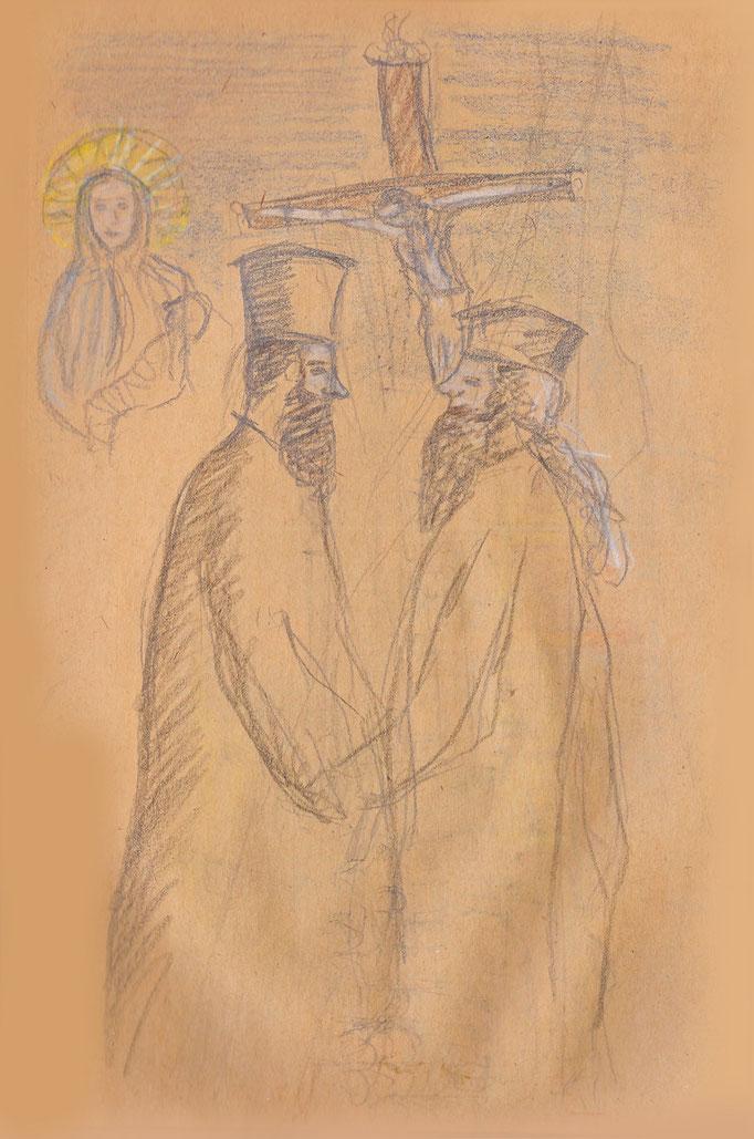 Orthodoxe Pfarrer begrüßen sich