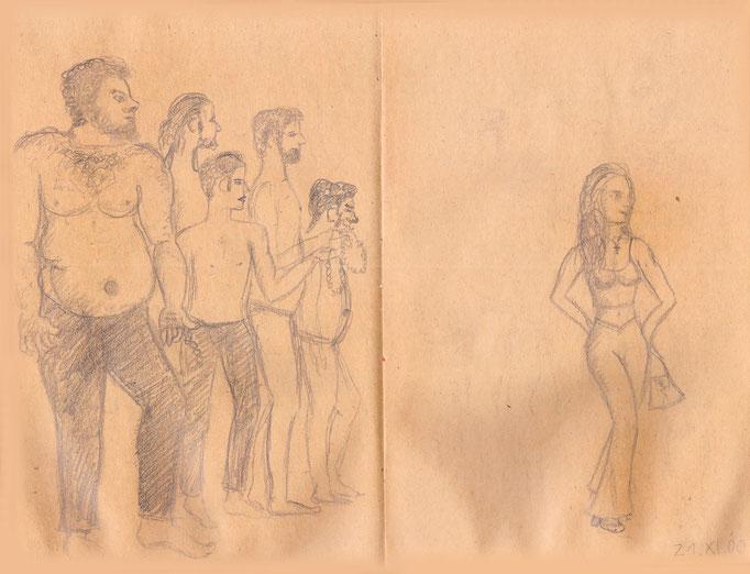 Karikatur griechischer Männer