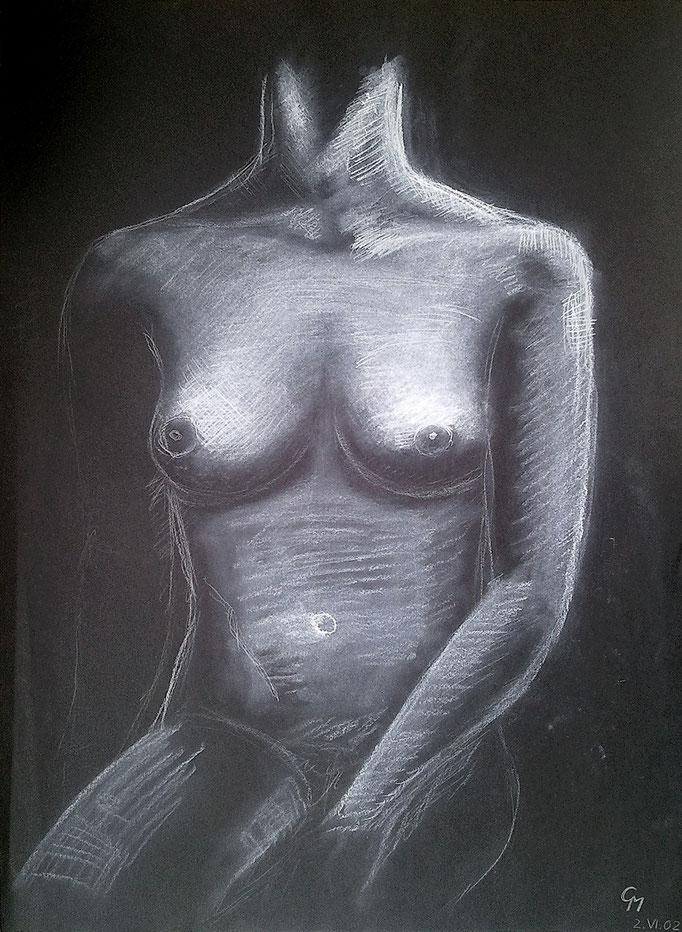 Akststudie Brustkorb (Pastell & weißer Buntstift auf schwarzem Karton)