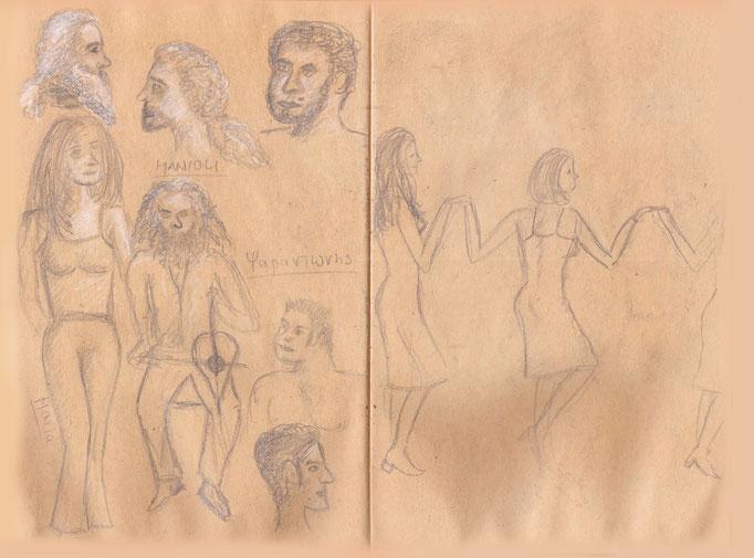 Weitere Skizze vom kretischen Abend in der Taverne mit Psarandonis