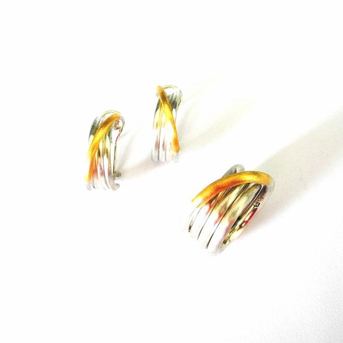 Ring, Ohrringe Gold 750 Sterlingsilber
