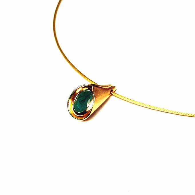 Anhänger Tüte Smaragd Gold 750