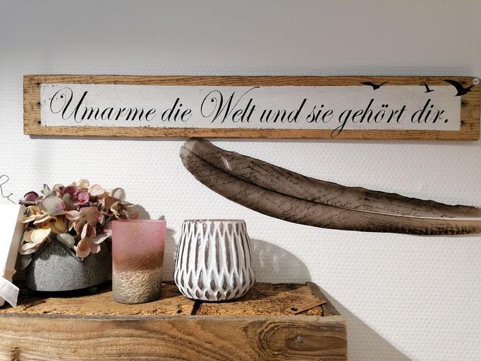 Tafel aus Harassenholz, 60 cm x 8.3 cm ab 49. - Fr., verschiedene Aufhängungen
