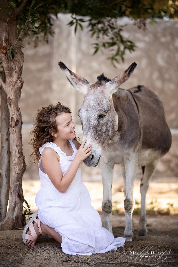 Kind und Esel, Fotoshooting,