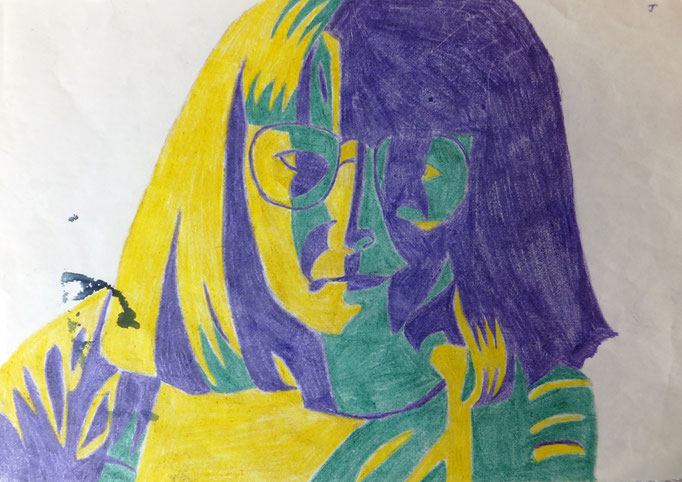 Johanna Schot // Selbstporträt // Buntstift auf Papier // 21 x 29,7 cm // 1982