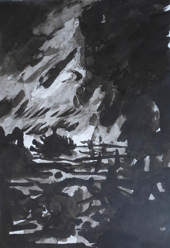 Johanna Schott // Sturmlandschaft // Tusche auf Papier // 21 x 29,7 cm // 2012