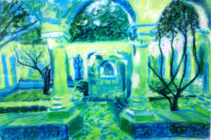 Johanna Schott // San Giovanni degli Emeriti Palermo // Pastell, Acryl auf Pappe // 25 x 37 cm // 2010