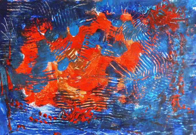 Johanna Schott // Rot Blau // Acryl auf Papier // 43 x 61 cm // 2017