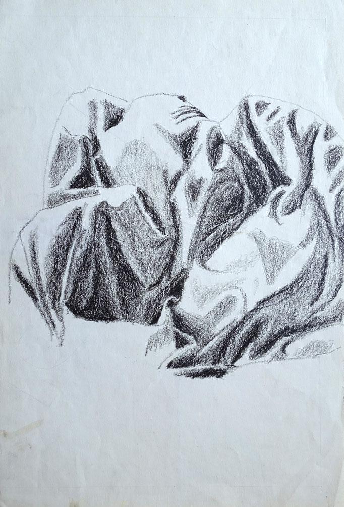 Johanna Schott // Das Federbettdeck // Wachskreiden auf Papier // 28,5 x 42 cm // 1984