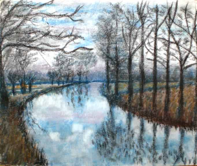 Johanna Schott // Bäume am Fluss // Pastell auf Papier // 30 x 25 cm // 2014
