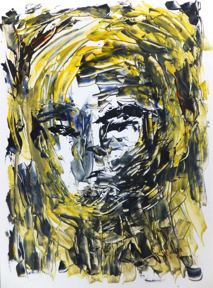 Johanna Schott // Kopf 5 // Acryl auf Papier // 21 x 9,7 cm // 2017
