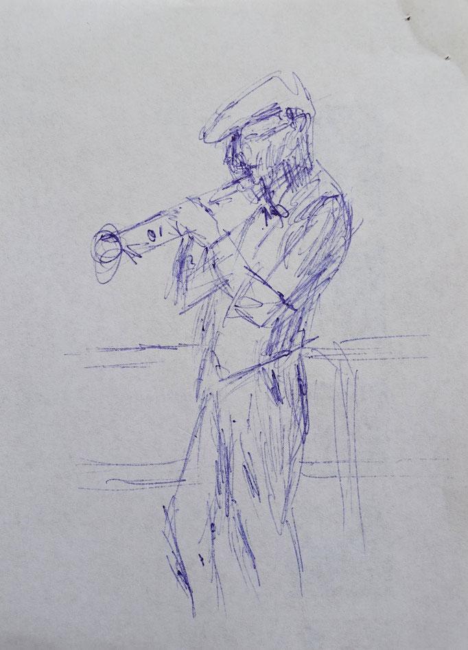 Johanna Schott // Trompeter // Kugelschreiber auf Papier // 10,5 x 14,7 cm // 2020