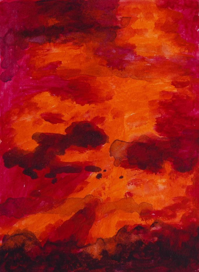 Johanna Schott // Gewitterwolken // Acryl auf Papier // 14,8 x 21 cm // 2014