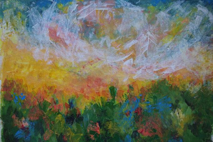 Johanna Schott // Sommerlandschaft // Acryl auf Papier // 49 x 65 cm // 2020