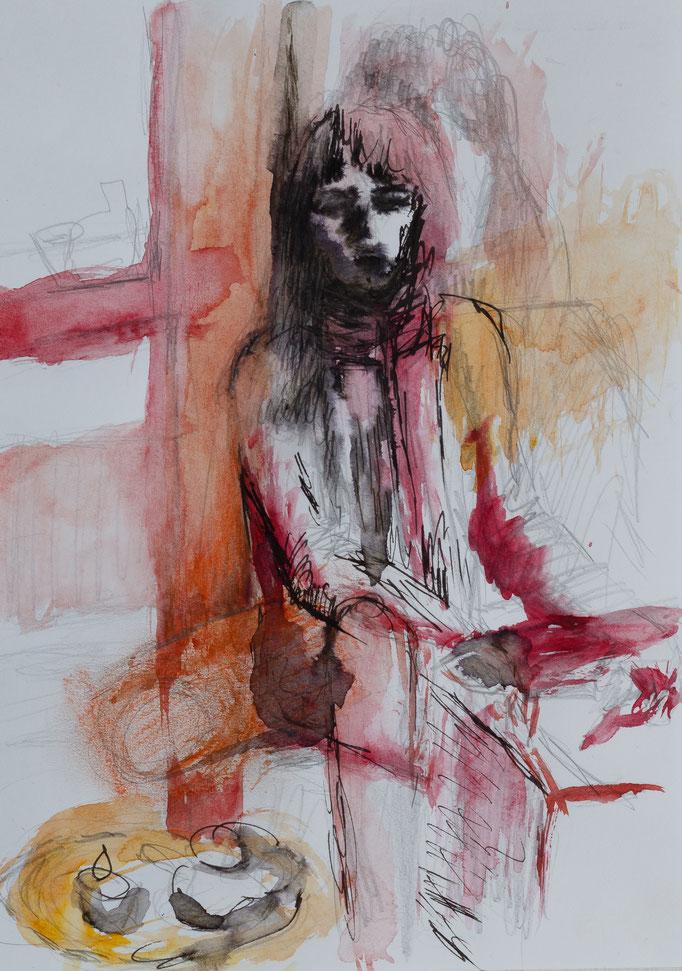 Johanna Schott // Sitzende Frau // Mischtechnik auf Papier // 21 x 29,7 cm // 2014