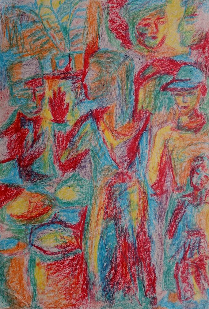 Johanna Schott // Die rote Hand // Wachsmalkreiden auf Papier // 21 x 29,7 cm// 1992