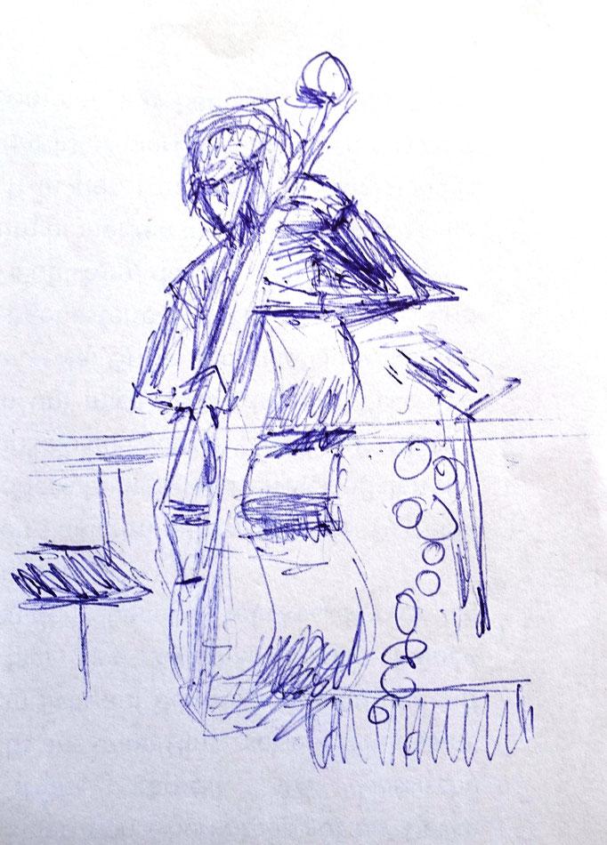 Johanna Schott // Kontrabassist // Kugelschreiber auf Papier // 10,5 x 14,7 cm // 2020