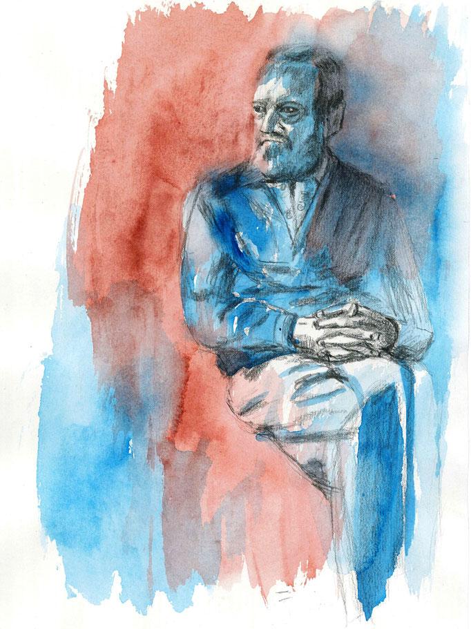 Johanna Schott // Sitzender Mann // Aquarell, Bleistift auf Papier // 21 x 29,7 cm // 2014