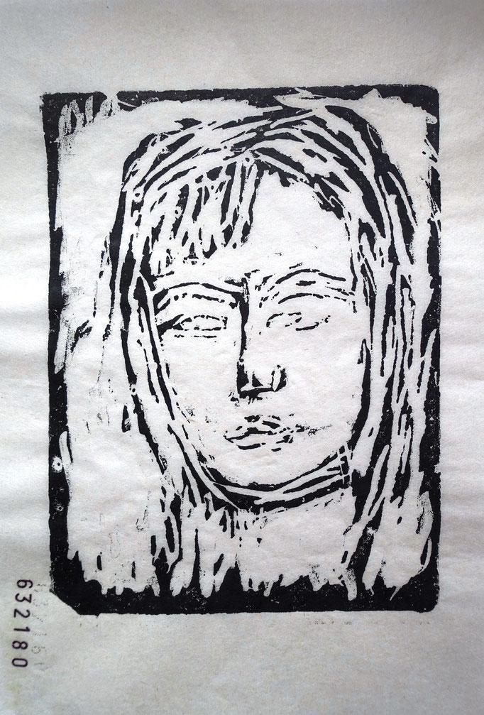 Johanna Schott // Gesicht // Gipsdruck auf Papier // 12 x 29,7 cm // 2019
