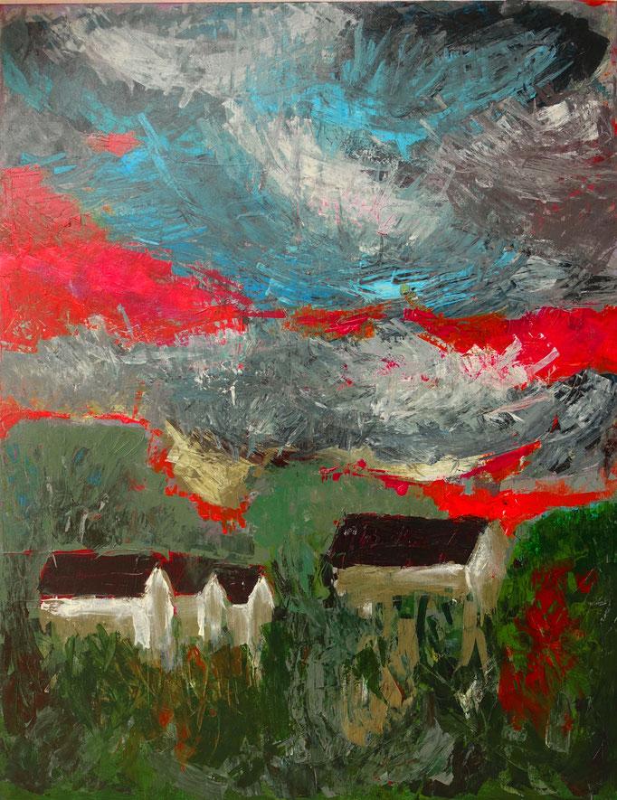 Johanna Schott // Vier Häuser // Acryl auf Leinwand // 70 x 90 cm // 2020