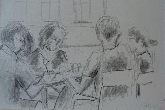 Johanna Schott // Skizze // Café in Wien // Bleistift auf Papier // 10,2 x 14,7 cm// 2020