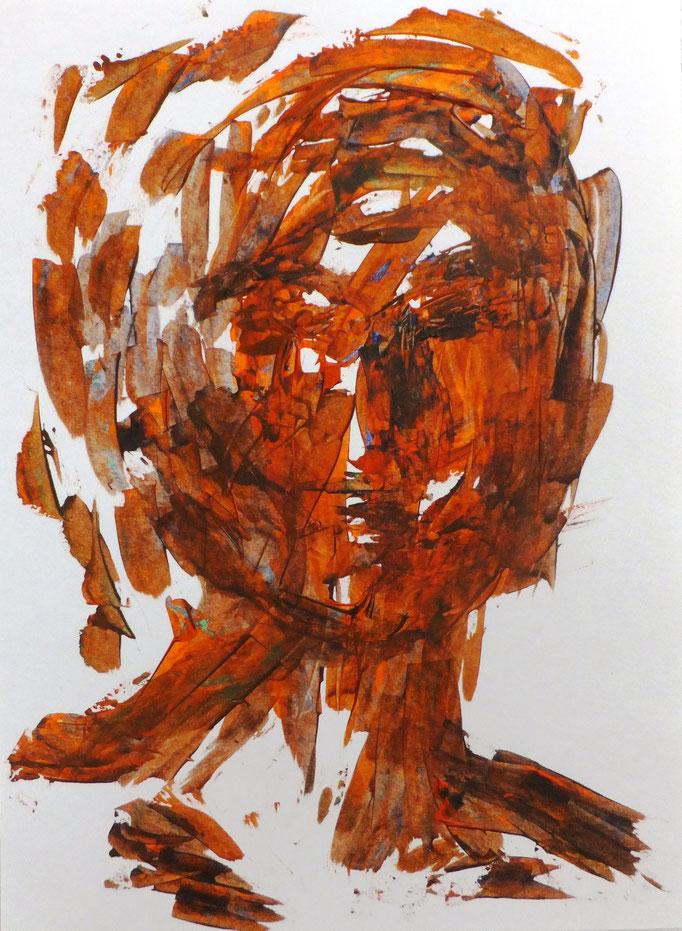 Johanna Schott // Kopf 4 // Acryl auf Papier // 21 x 9,7 cm // 2017
