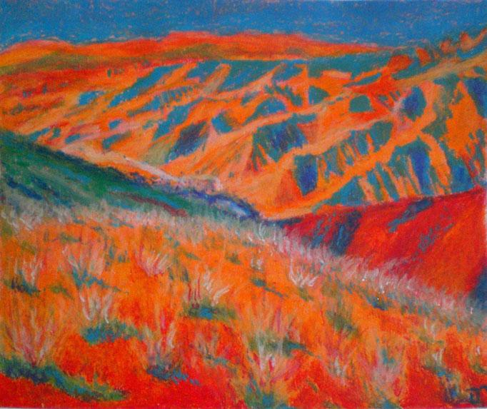 Johanna Schott //  Iranische Landschaft // Ölpastell auf Papier // 60 x 30 cm // 2015